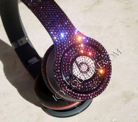aksesoris handphone earphone headset color custom beat wireless bling beats by dre bedazzled headphones whats