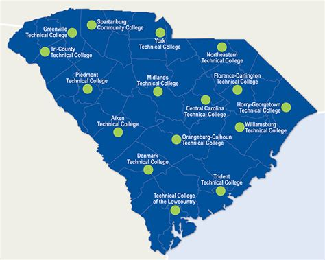 map of carolina universities sc technical college system