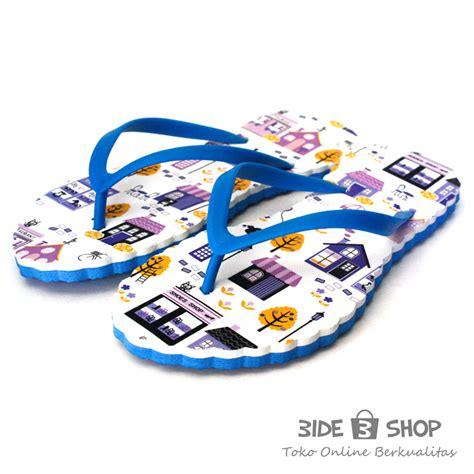 Sendal Jepit Wanita Spon Biru jual sandal jepit gambar lucu putih biru sendal wanita