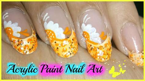 nail art acrylic paint tutorial acrylic paint nail art tutorial for beginners youtube