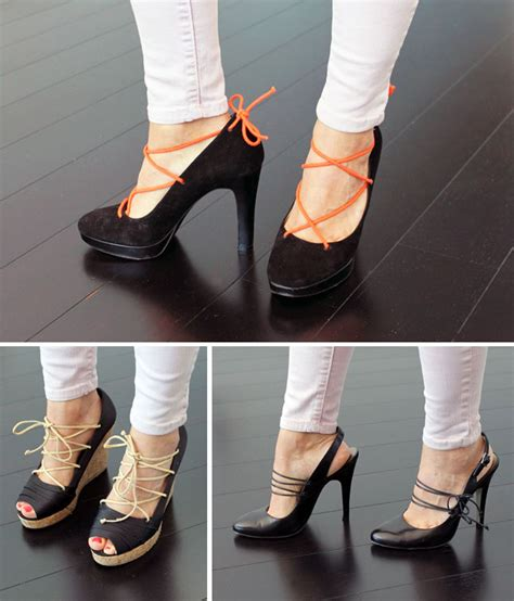 diy pumps shoes how to lace up your pumps wedges and slingbacks
