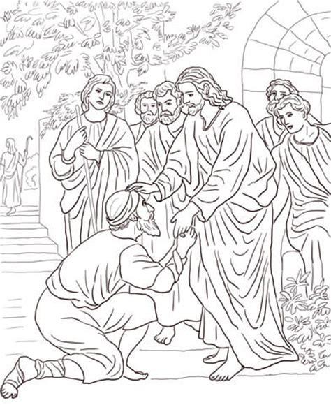 coloring page jesus heals bleeding jesus heals the leper coloring page free printable