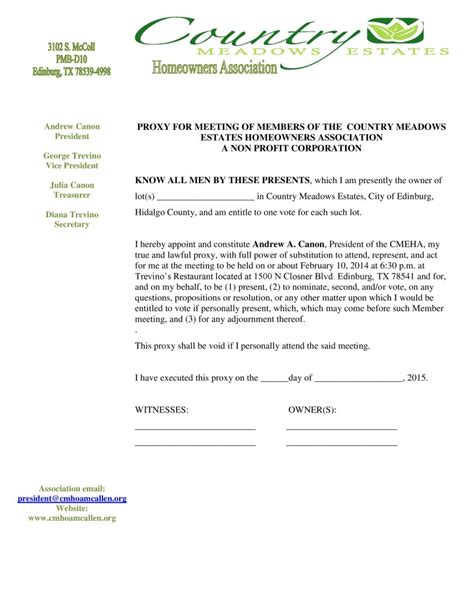 Hoa Meeting Proxy Letter Country Meadows Estates Hoa Proxy Template