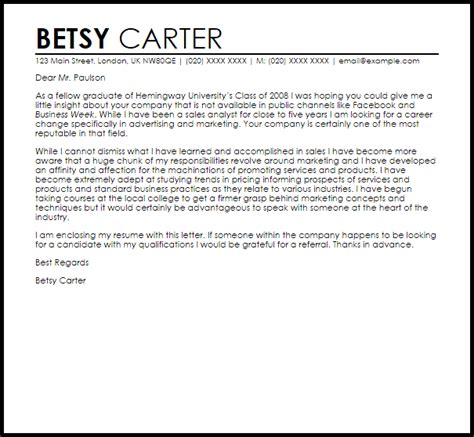 sle email cover letter for business cover letter career change 10 sle of career change cover