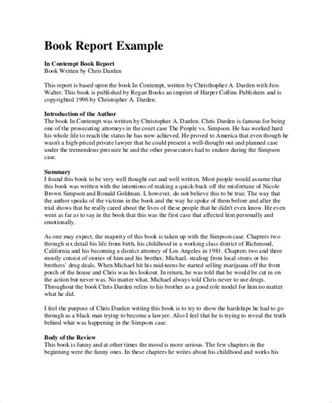 book report introduction exles book report format 9 free word pdf documents