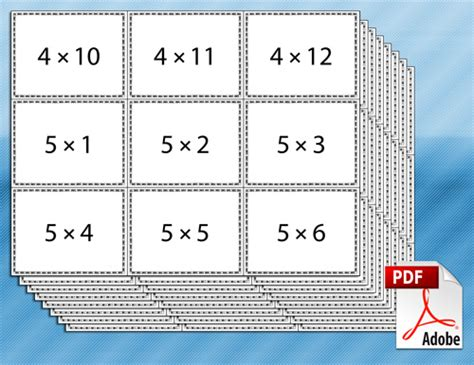 multiplication flash card template tim de vall comics printables for