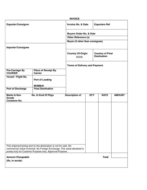 export invoice template sle export invoice export invoice format
