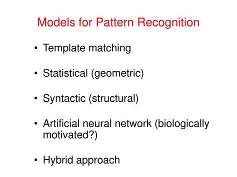 pattern recognition model ppt pattern recognition vidya manian dept of electrical