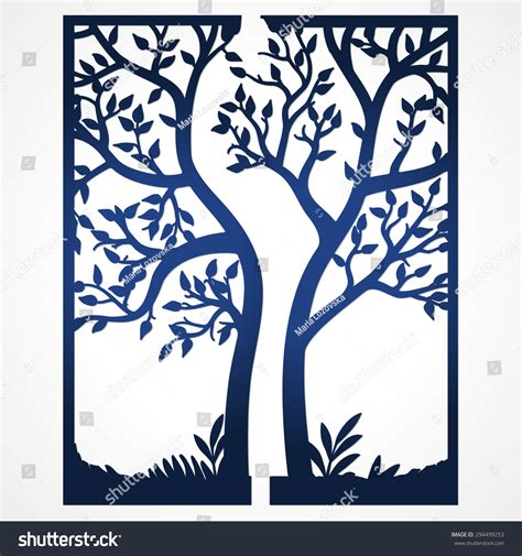 two fold wedding invitation template tree stock vector