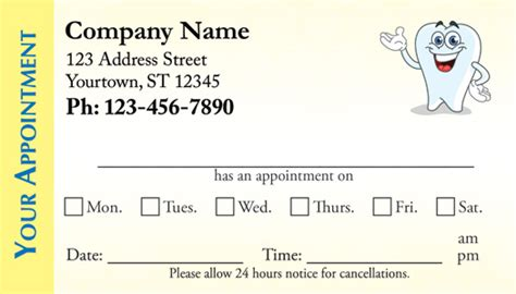 dental appointment business cards appointment cards