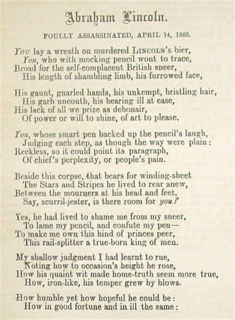 abraham lincoln biography poem 1865 john tenniel eulogy of abraham lincoln print
