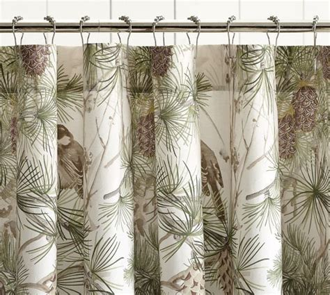 pine curtain snow pine bird shower curtain pottery barn bathroom