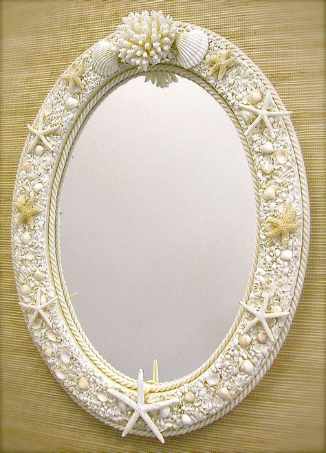 shell bathroom mirror beach decor seashell mirror beachy room pinterest