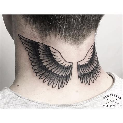 wings tattoo for men black eagle winged neck neck tattoos