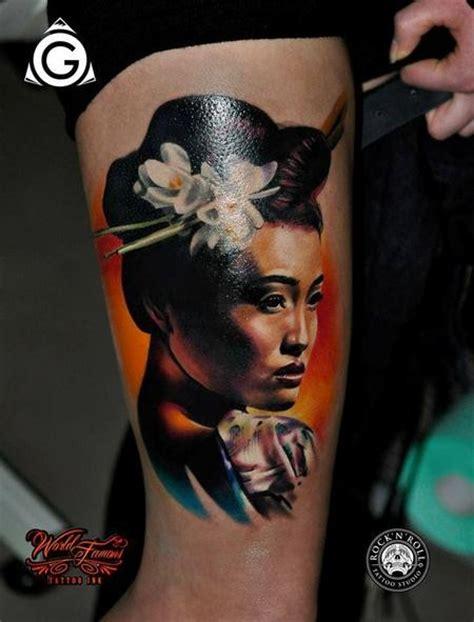 geisha tattoo neo traditional neo japanese style colored tattoo of geisha woman with