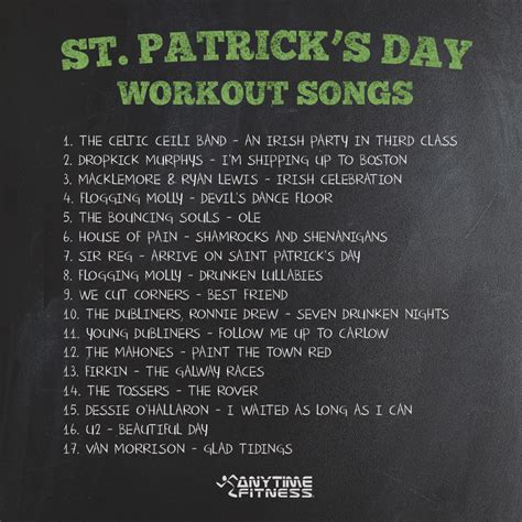 s day playlist 17 songs for your st s day workout