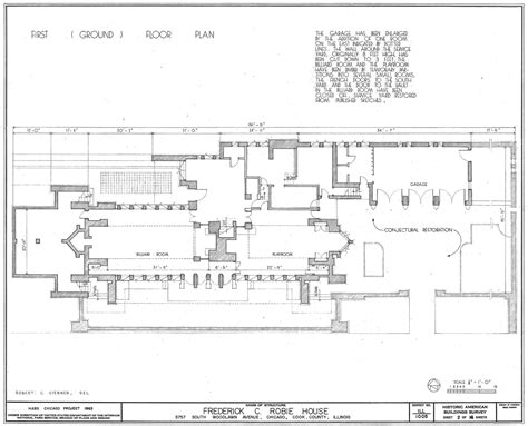 robie house floor plan the best exle of the prairie houses the robie house metalocus