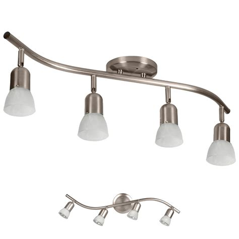 Ceiling Fans With Track Lighting 4 Light Track Lighting Ceiling Wall Adjustable Interior Fixture Brushed Nickel Ebay