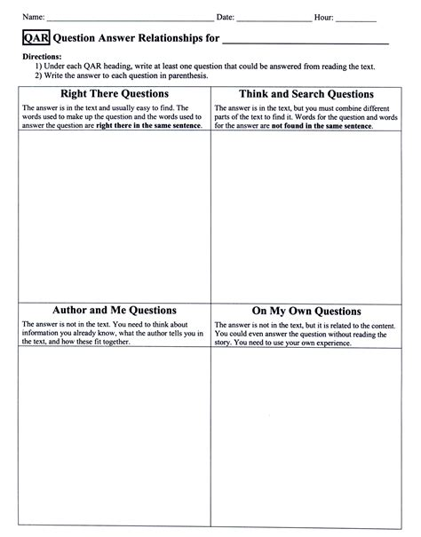 qar template question answer relationship worksheet lesupercoin