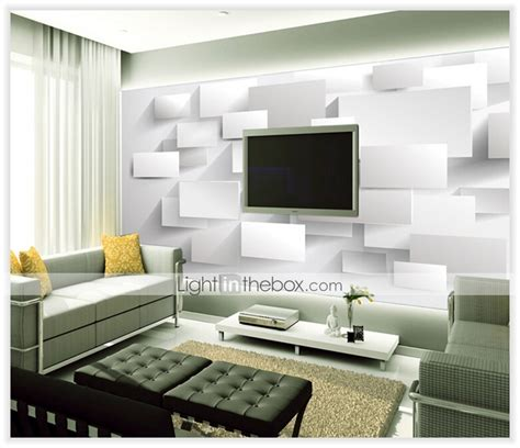 living room cubes modern 3d shinny leather effect large mural wallpaper