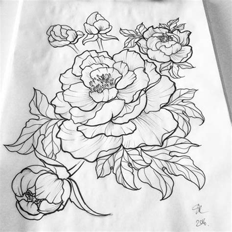 flower tattoo outline designs attractive black outline peony flowers design