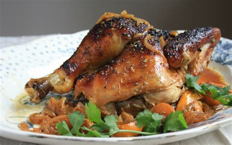 molasses glazed chicken recipe whole roasted with lemons flavourful