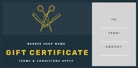 Design Your Own Barber Shop Gift Certificate Barber Shop Gift Certificate Template