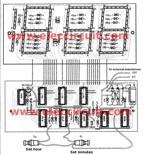 clock circuit diagram big digital clock circuit without microcontroller