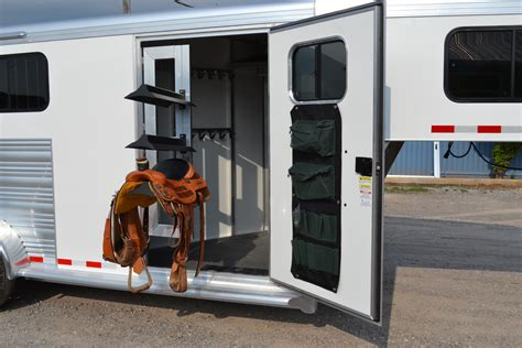 swing out saddle racks for horse trailers front tack with swing out saddle rack cimarron trailers