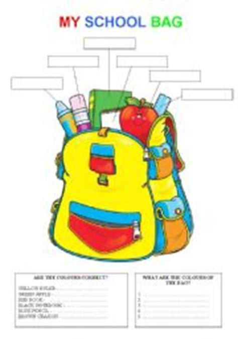 esl kids worksheets my school bag