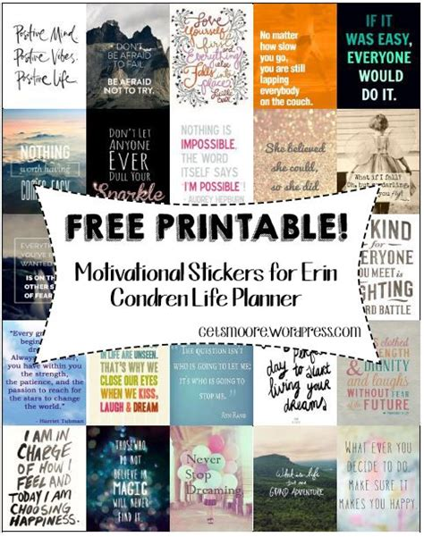 free printable planner quotes free printable inspirational stickers for erin condren