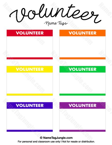 Printable Volunteer Tags | free printable volunteer name tags the template can also