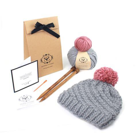 knitting supplies for beginners make your own beginner s pom pom hat knitting kit by