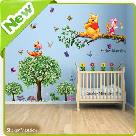 Winnie The Pooh Nursery Wall Decals Winnie The Pooh Wall Stickers Animal Butterfly Tree Baby Room Nursery Decal Ebay