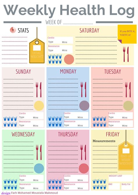printable daily health journal weekly health log free printable diy organizers