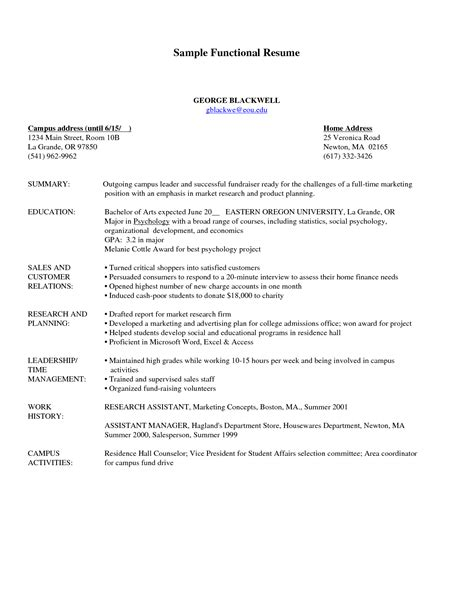 Combination Resume Sle what is a functional resume sle entry level staff