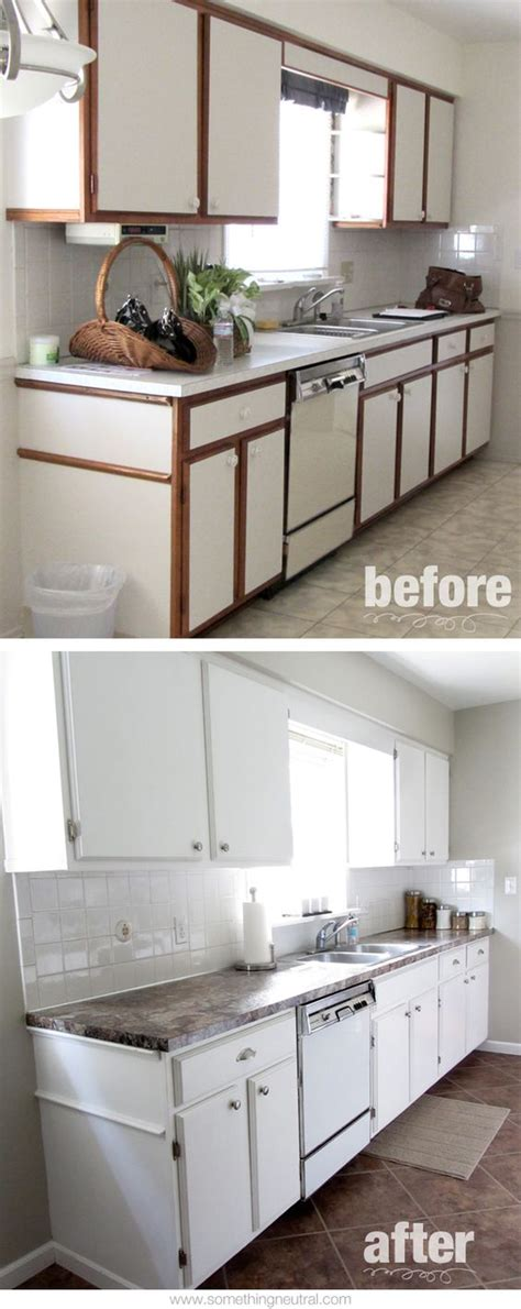painting laminate kitchen cabinets white kitchen before after diy neutral tan white