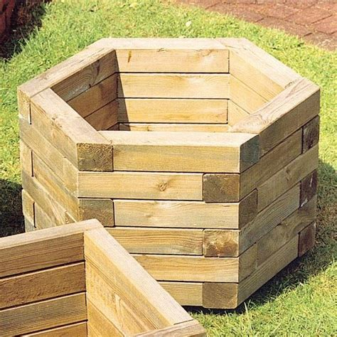 wood planters fsc hexagonal wooden garden planter