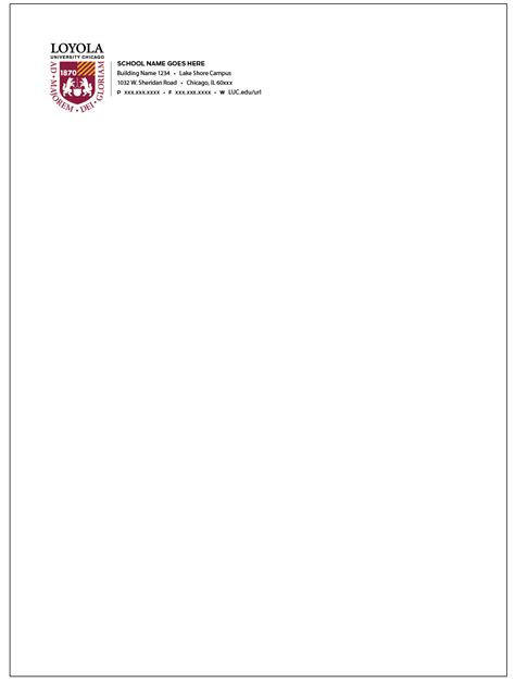 Loyola College Letterhead plan 2020 identity guidelines office of the president