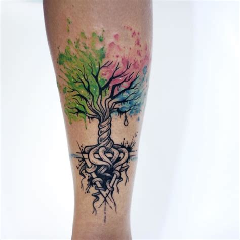 watercolor tree tattoo sleeve tree of 2 tree arm on tattoochief
