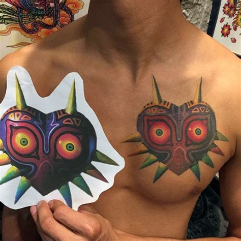 chest zelda tattoo 50 majora s mask tattoo designs for men the legend of