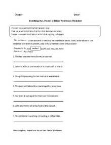 identifying past present or future verb tenses worksheet
