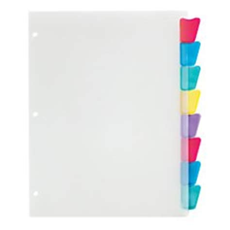 Amazon Com Office Depot Plastic Dividers With Insertable Rounded Tabs Assorted Colors 8 Tab Office Depot Index Divider Templates