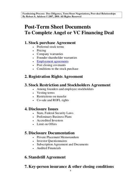 Preparing Your Company For Investment Employment Term Sheet Template