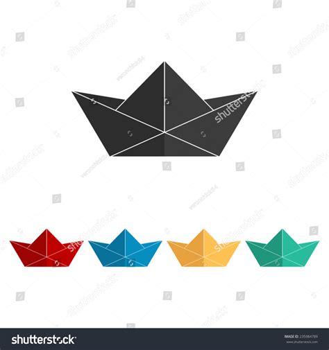 origami boat flat paper boat vector icon flat design stock vector 235984789