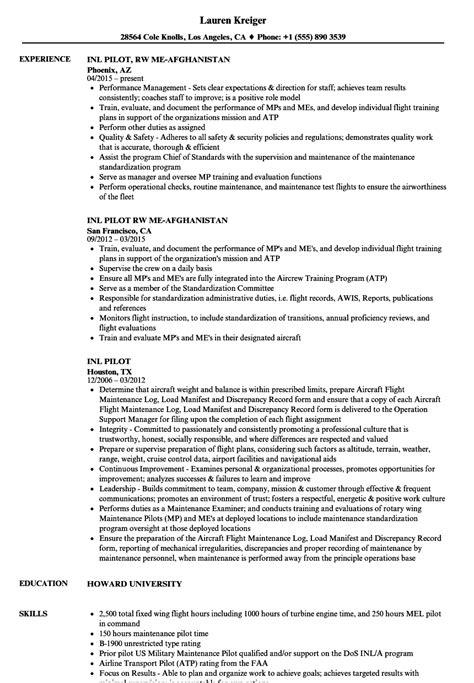 Pilot Resume by Inl Pilot Resume Sles Velvet