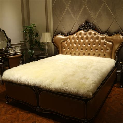 sheepskin comforter natural pure wool mattress fur one piece sheepskin bed