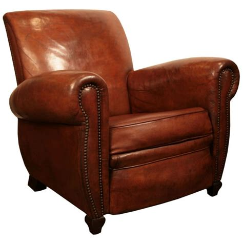 Armchair Antiques French Art Deco Period Leather Club Chair At 1stdibs