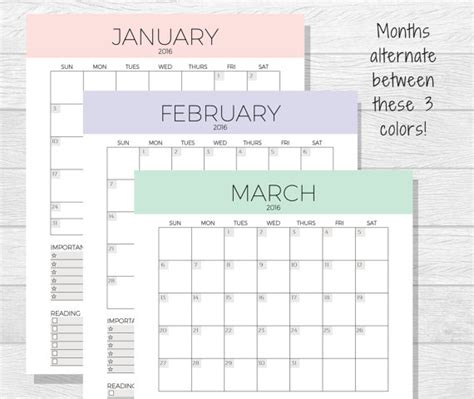 printable organizer 2016 2016 monthly planner printable monthly by purposefulprintables