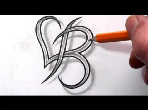 tattoo of alphabet a with heart initial b and heart combined together celtic weave style